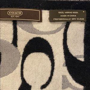 Coach Accessories - Coach Black White Logo Wool reversible Scarf